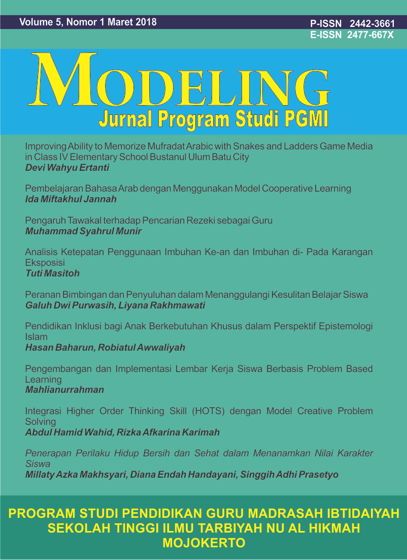 Pendidikan Inklusi Bagi Anak Berkebutuhan Khusus Dalam Perspektif Dilema Usaha Manusia Rasional Epistemologi Islam Modeling Jurnal Program Studi Pgmi
