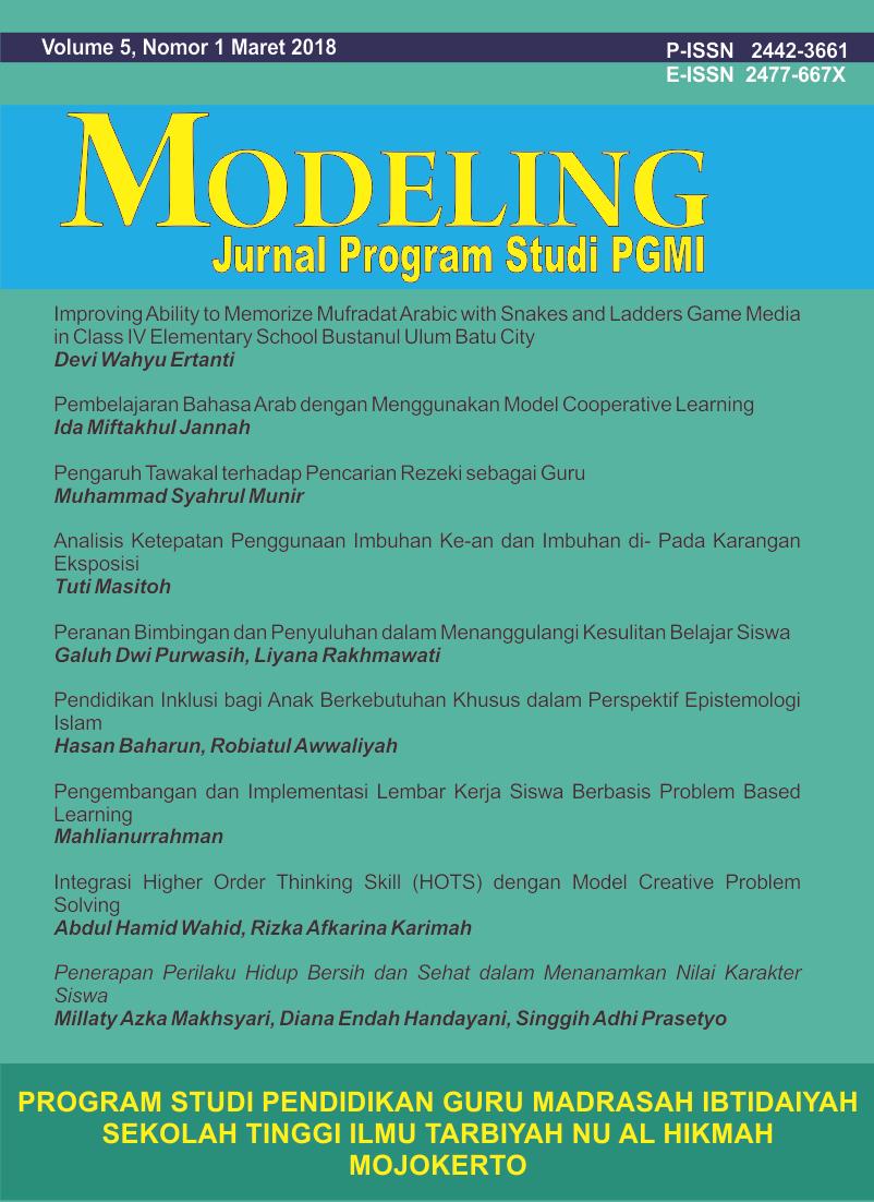 Pendidikan Inklusi Bagi Anak Berkebutuhan Khusus Dalam Perspektif Epistemologi Islam Modeling Jurnal Program Studi Pgmi